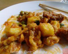 Recettes d'une Chinoise: Porc aigre-doux avec l'ananas 凤梨咕咾肉 fènglí gǔlǎoròu
