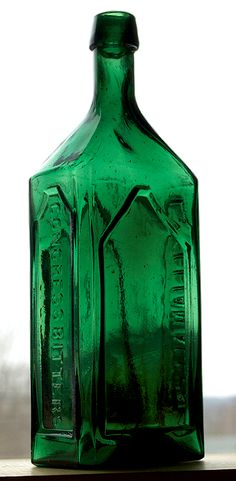 """WILLIAM ALLEN'S - CONGRESS BITTERS, (Ring/Ham, A-29), Vermont, ca. 1865 - 1875, emerald green semi-cabin, 9 7/8"""", smooth base, applied tapered collar mouth."""