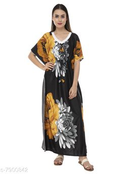 Nightdress Fomti Satin Night Wear Kaftaans for Women's Fabric: Satin Sleeve Length: Short Sleeves Pattern: Printed Multipack: 1 Sizes: Free Size (Bust Size: 44 in Length Size: 60 in)  Country of Origin: India Sizes Available: Free Size, L, XL, XXL, XXXL, 4XL, 5XL   Catalog Rating: ★4.2 (5483)  Catalog Name: Inaaya Alluring Women Nightdresses CatalogID_1298722 C76-SC1044 Code: 182-7900842-998