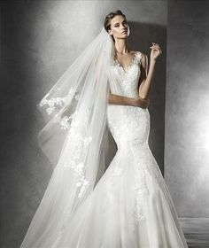 Pronovias fitted mermaid with lace straps wedding dress