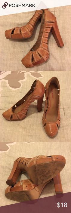 Miss Sixty Vented Detail Block Heel Pumps Miss Sixty Vented Detail Block Heel Pumps. Color is Tan/Camel. Size 37.5. Ultra high heel. Good condition. Final sale. Miss Sixty Shoes Heels