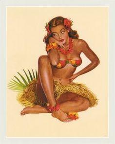 Hawaiian Pin Up Girl Al Moore Aloha Paradise Vintage Art Poster Print Pinup Art, Pin Up Girl Vintage, Vintage Art, Vintage Style, Vintage Tiki, Illustrations Vintage, Vargas Girls, Hawaiian Art, Vintage Hawaiian