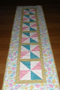 Easter Quilted Table Runner Easter Table Runner Quilt Pink