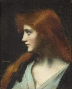 ♀ Painted Art Portraits ♀  Jean Jacques Henner | A Portrait of an Auburn-Haired Beauty
