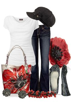 LOLO Moda: Clothing-this set shows how a simple white tee and jeans can be very comfortable but not at all boring with the addition of super cute accessories. (No cap for me though.)-Have similar pieces-my bag is not quite so dashing though.*****