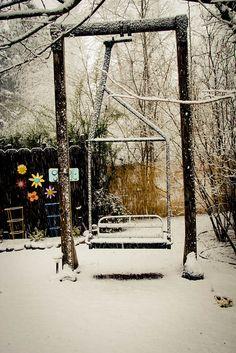 Outside Inn's chair lift swing covered in snow, photo by Erin Thiem/Outside Inn