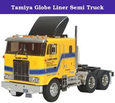 """Tamiya Globe Liner Semi Truck. Tamiya ventured into the modeling business in 1948, with a scale wooden ship model kit. Since then, Tamiya has been striving to offer merchandise that can truly be called """"First in Quality Around the World."""" Now Tamiya is offering more than 300 different products, both in the fields of precision static models and high performance radio control vehicles. These products are not only sold in Japan but also exported in vast quantities to the United States…"""