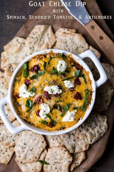 Goat Cheese Dip with Spinach, Sundried Tomatoes & Artichokes - Shweta in the Kitchen Holiday Appetizers, Appetizer Dips, Appetizer Recipes, Dip Recipes, Snack Recipes, Snacks, Baked Goat Cheese, Fun Dip, Spinach Dip