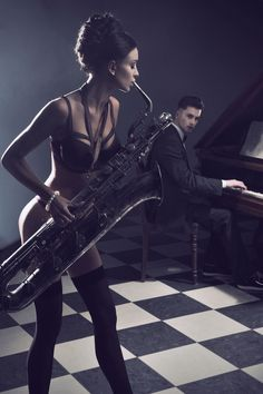 artur k - Sexy couple with instruments - stock photo Jeane Manson, Musician Photography, Models, Music Lovers, Sensual, Girl Photos, Erotic, Beautiful Women, Vogue