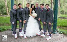 bridal party pics grooms men purple