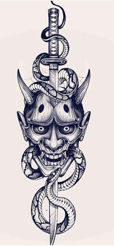 Tattoo Design Drawings, Tattoo Sleeve Designs, Tattoo Sketches, Tattoo Designs Men, Sleeve Tattoos, Japanese Demon Tattoo, Japanese Tattoo Symbols, Japanese Tattoo Designs, Japanese Tattoos