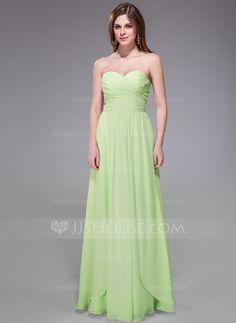 A-Line/Princess Sweetheart Floor-Length Chiffon Bridesmaid Dress With Ruffle (007037166) - JJsHouse