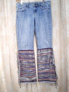 Size 8 Womens Redesigned Jeans Flair Bellbottom for the hippie boho beach surfer style bohemian,gypsy cowgirl style, clothes clothing  by LandofBridget