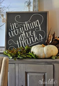 Framed Chalkboard DIY Thanksgiving Sign