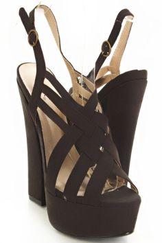 Black Fabric Faux Leather Woven Strappy Front Platform Chunky Heelshttp://www.amiclubwear.com/shoes-heels-el-honor-06blackfabric.html#