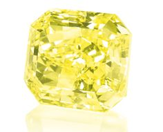 Included in the colored diamond lots will be a 70.19-carat fancy vivid yellow rectangular-cut diamond (below) of VS clarity, which has a pre-sale high estimate of $ 5.1 million.