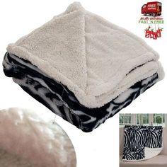 Blanket Throw Sherpa Velvet Zebra Warm Soft Fleece Reversible Sofa Christmas Gif #LavishHome