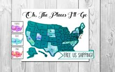 Watercolor Scratch Off Map  Free Shipping to by BurlapBundlesCo