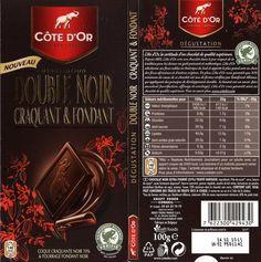 tablette de chocolat noir dégustation côte d'or double noir craquant & fondant