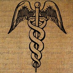 Caduceus Medical Nurse Doctor Medicine Health Digital Image Download Sheet Transfer To Pillows Totes Tea Towels Burlap No. 2510