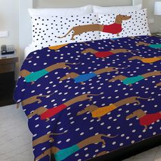 One Bella Casa Dachshund Dots Fleece Duvet Cover
