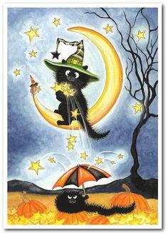 Peek n Boo Harvesting the Stars Halloween Art   by AmyLynBihrle,