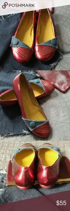 Miss Sixty Flats The best walking flats ever. Miss Sixty red denin flats. She's your all around go-to shoe from desk to the dinner and pairs perfectly with jeans, skirts dresses and everything in between. Gently worn. Size 39 miss sixty  Shoes Flats & Loafers
