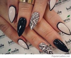 Black and white manicure with tribal print