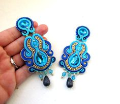 White Bridal Earrings, Long Soutache Earrings with opal and swarovski, White silver dangle drop earrings Gold Bridal Earrings, Blue Earrings, Wedding Earrings, Clip On Earrings, Drop Earrings, Diy Earrings Easy, How To Make Earrings, Soutache Earrings, Etsy Earrings
