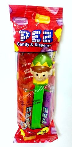 Elf Holiday Pez Candy and Dispenser - Christmas Stocking Stuffer - Party Favor