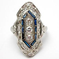 Antique Art Deco Old European Cut Diamond & Created Blue Sapphire North to South Ring - Solid 18K White Gold