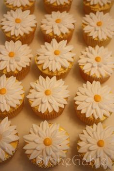 Bridal Shower Cupcakes: with fondant daisies