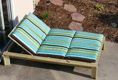 DIY Double chaise lounger and cushion -  could also be a platform for a blow up mamtat