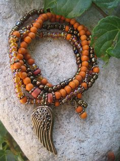 Falling Leaves on Golden Wing Orange and Brown by thirdtimecharms, $23.00