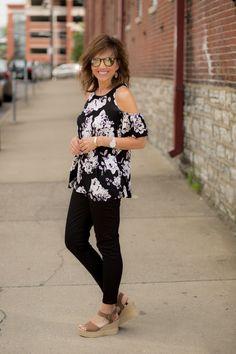 Floral Top   Black Jeans   Platform Sandal