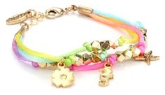 "Ettika ""Satin Cord"" Gold Beaded Pastel ""Satin Cord"" Bracelet"