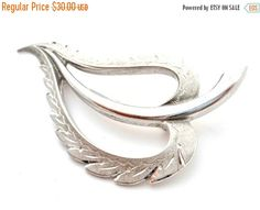 Sale Diamond Cut Vintage Leaf Brooch by TheJewelryLadysStore