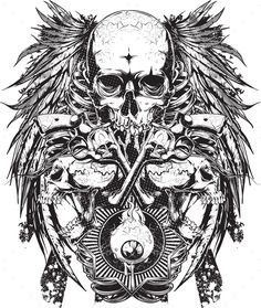 Buy Skull Tattoo 3 by alijasim on GraphicRiver. Skull Tattoo 3 are full vector EPS with rendered JPG Full Tattoo, Sick Tattoo, Tattoo Set, Zodiac Tattoos, Body Art Tattoos, Tattoo Drawings, Skull Drawings, Belly Tattoos, Japanese Demon Tattoo