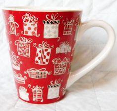 Starbucks  Red/White Gift Box Ceramic Coffee Mug Cup 2004