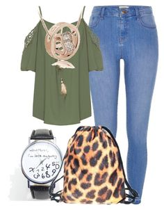 """""""Back to School Drawstring Leoprad pattern Fashion Backpack"""" by fab-life-939 ❤ liked on Polyvore featuring River Island and WearAll"""
