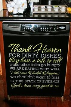Doing this on our dishwasher!! #uppercaseliving #thankheaven #vinyl #dishes