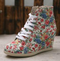 Womens Floral Printed Lace Up Sneakers Hightop Ankle Wedge Hidden Heel Shoes | eBay