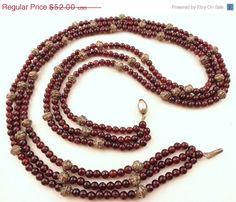 Vintage Beaded Garnet Necklace  Triple Strand by SweetLenasRetro