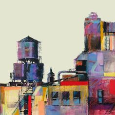 Paintings by Patti Mollica: 33rd Street Watertowers, NYC