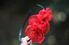 Red Flower Headband - Bridal Poppies Headpiece - Rustic Woodland Wedding Fascinator - Bridesmaids Gift - Custom Color