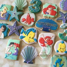 Little Mermaid character cookies! These were fun but I'll have to say.. These would be the first and last time I'll be making these  #littlemermaid #littlemermaidcookies #mermaid #natsweets #charactercookies #sandiego #customcookies #underthesea