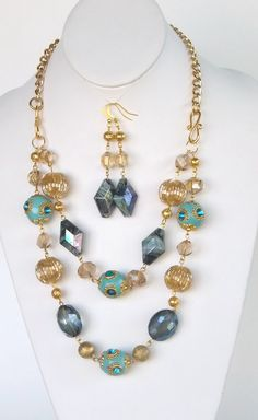 Bella Tevella Signature Teal and Goldtone Double Strand Necklace and Earrings