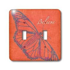 PS Creations - Orange Believe Butterfly - Inspirational Art - Nature - Light Switch Covers - double toggle switch
