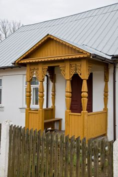Porch of an old wooden house. Village of Jaczno,. Russian Image, Scandinavian Cottage, Ethnic Home Decor, Wooden House, Front Entry, House In The Woods, Architecture Details, Poland, Gazebo
