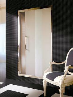 A glamorous bathroom from Devon & Devon. Glamorous Bathroom, Beautiful Bathrooms, Bathroom Colors, Bathroom Sets, Bathroom Furniture Design, Devon Devon, Glass Shower Doors, Floor Patterns, Minimalist Bathroom